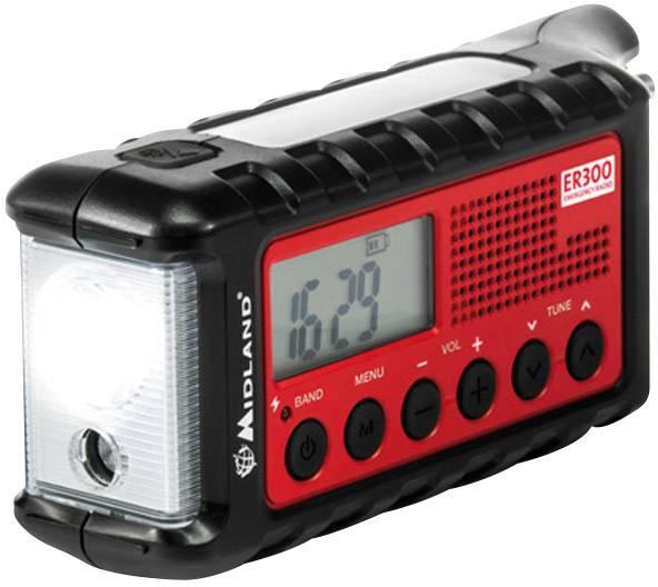 FM outdoorové rádio so svietidlom Midland C1173, UKW, čierna, červená