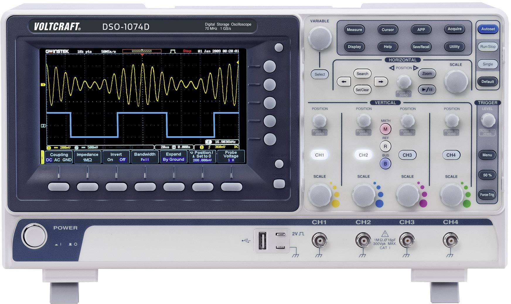 Digitální osciloskop VOLTCRAFT DSO-1074D, 70 MHz, 4kanálový, kalibrace dle ISO