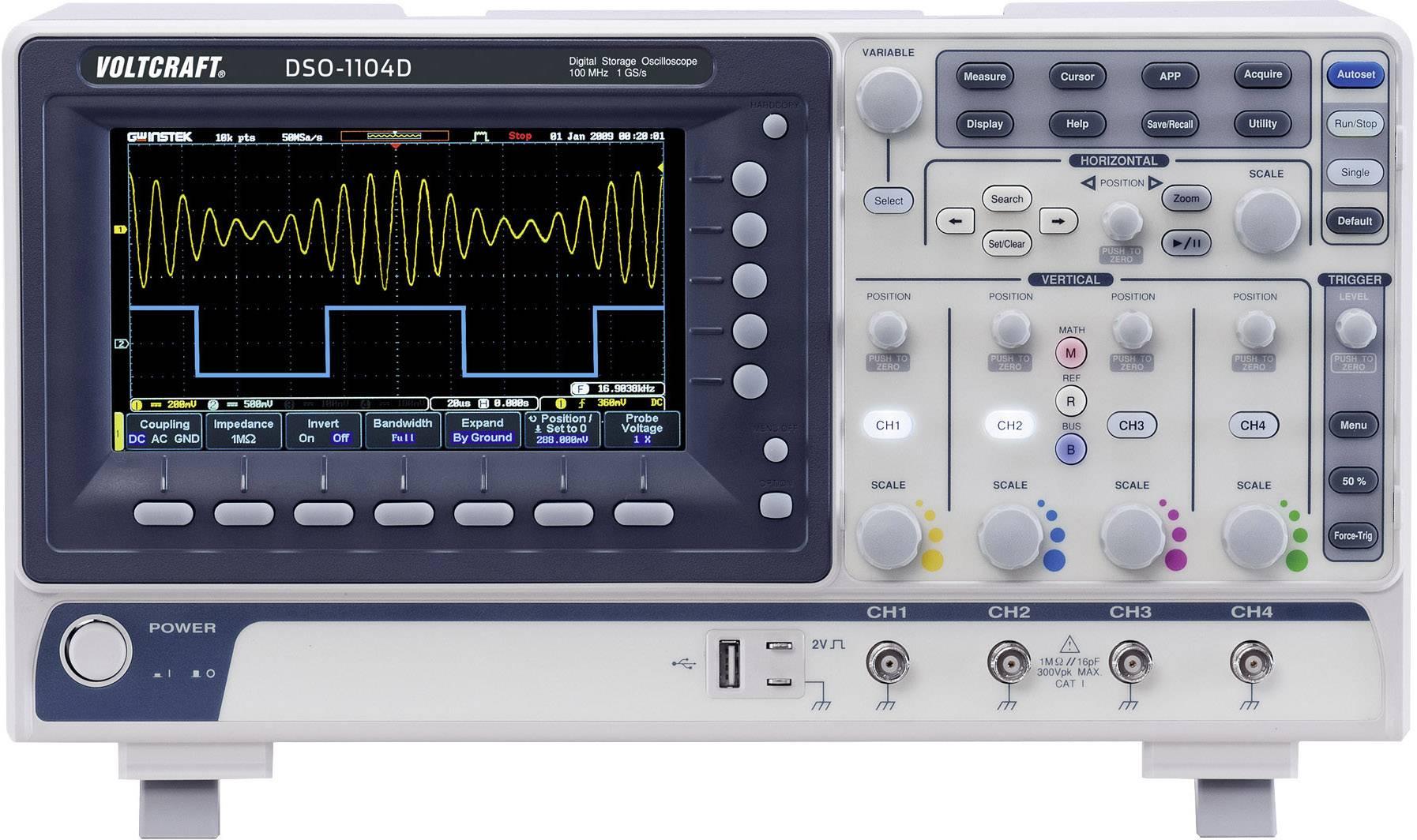 Digitálny osciloskop Voltcraft DSO-1104D, 4 kanály, 100 MHz