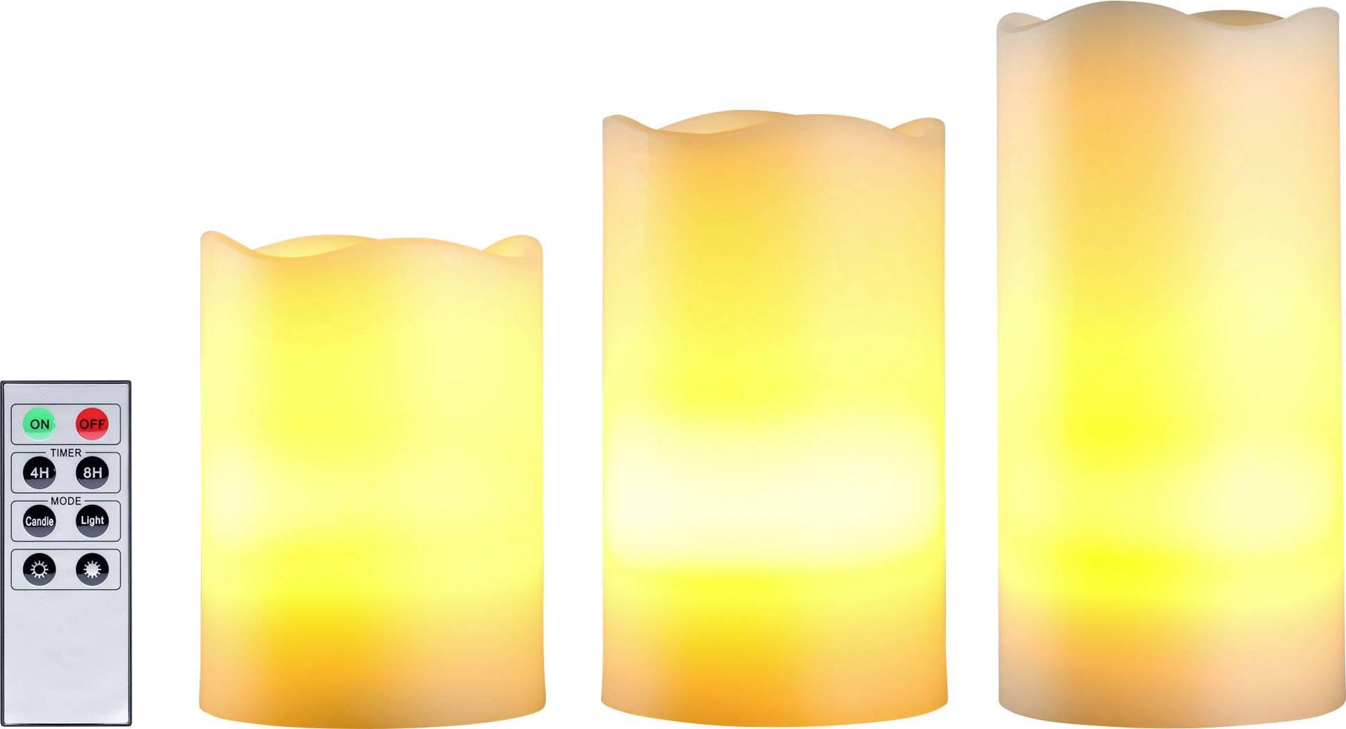 Bezdrátové LED svíčky Polarlite, teplá bílá, (Ø x v) 7,5 x 15 cm, sada 3 ks