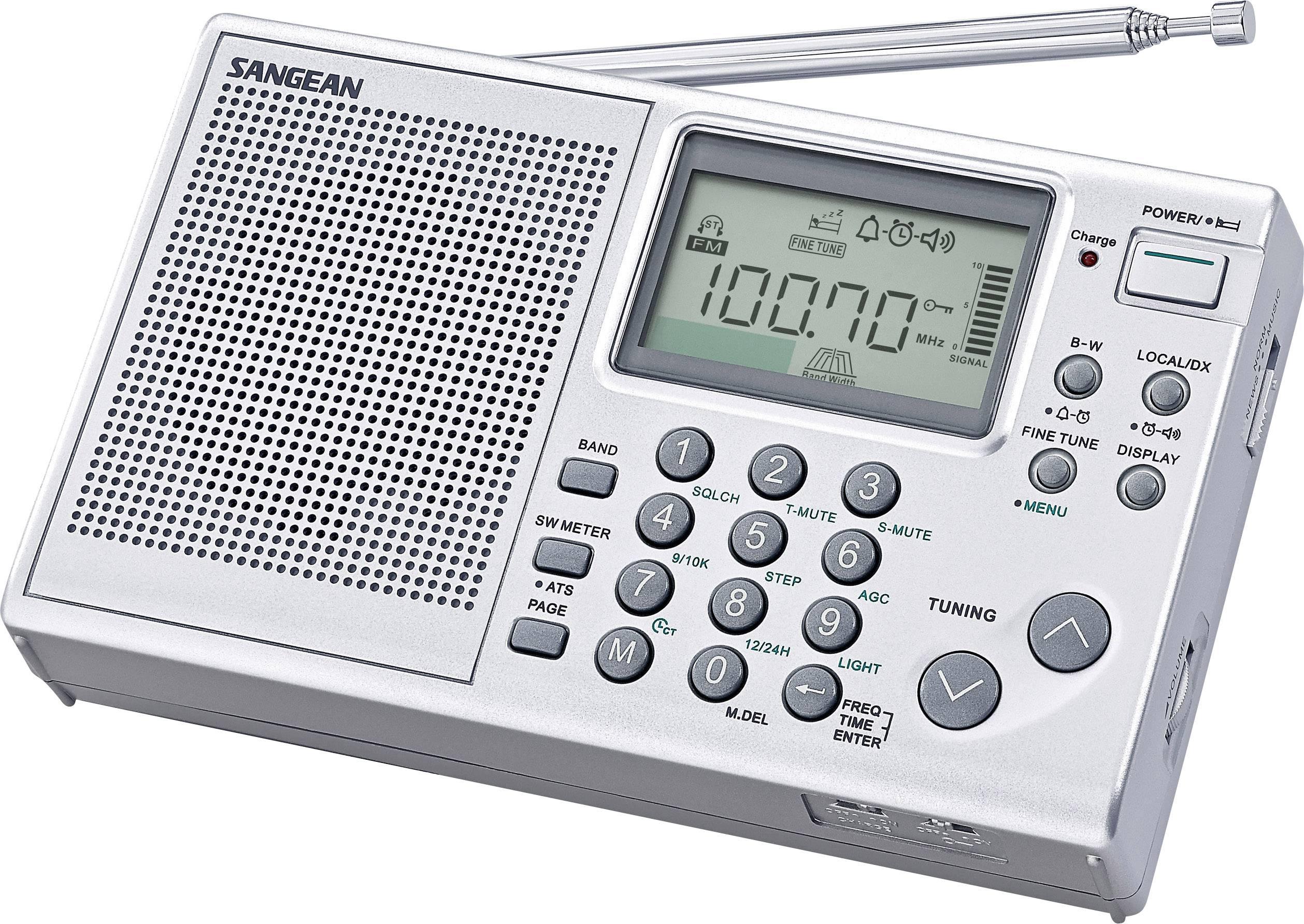 Svetový rádioprijímač Sangean ATS-405 Package, KW, MW, UKW, s USB nabíjačkou, strieborná