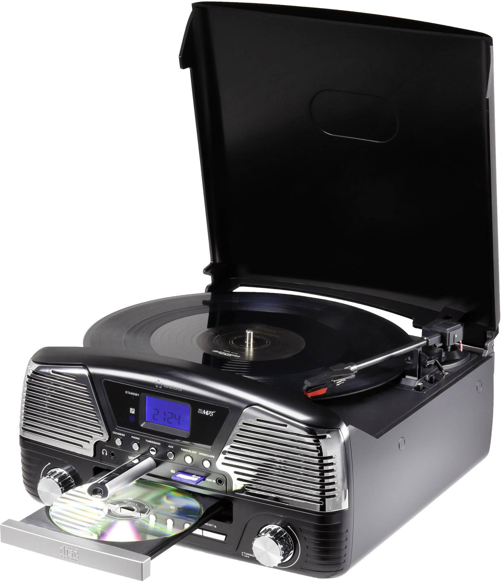 Retro USB gramofon Renkforce MT-35, černá