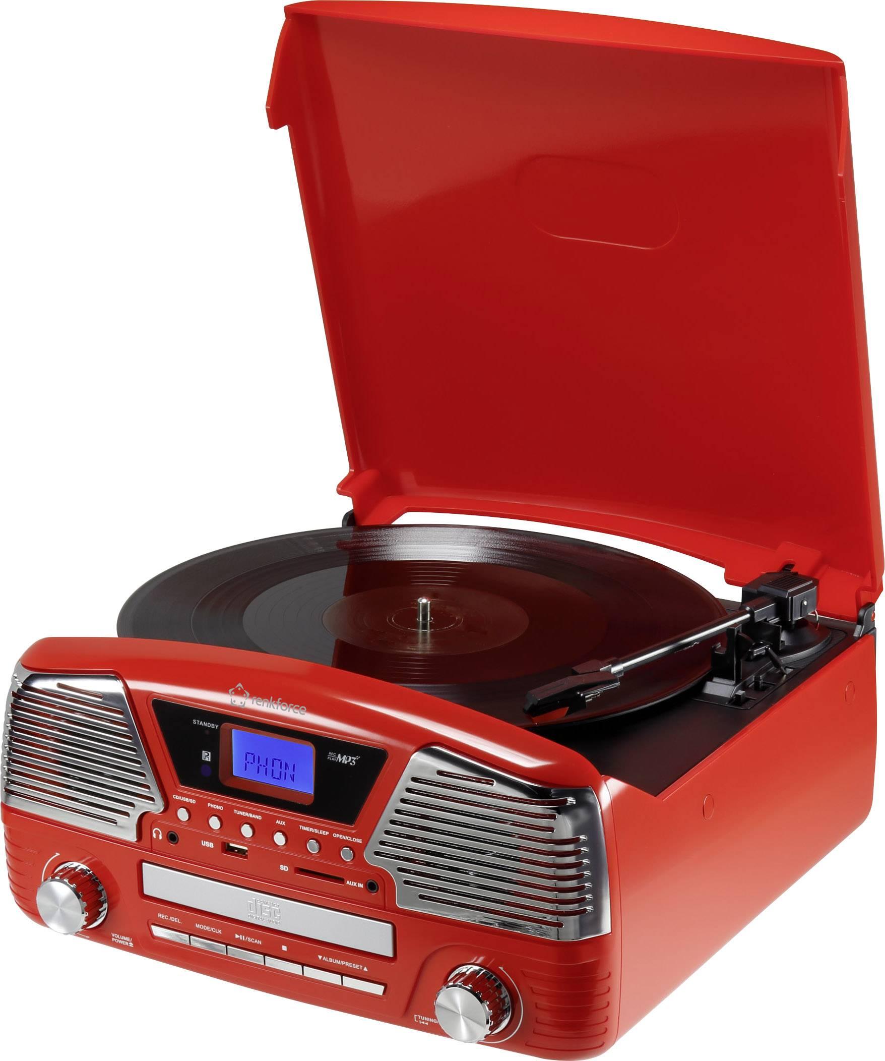 Retro USB gramofon Renkforce MT-35, červená