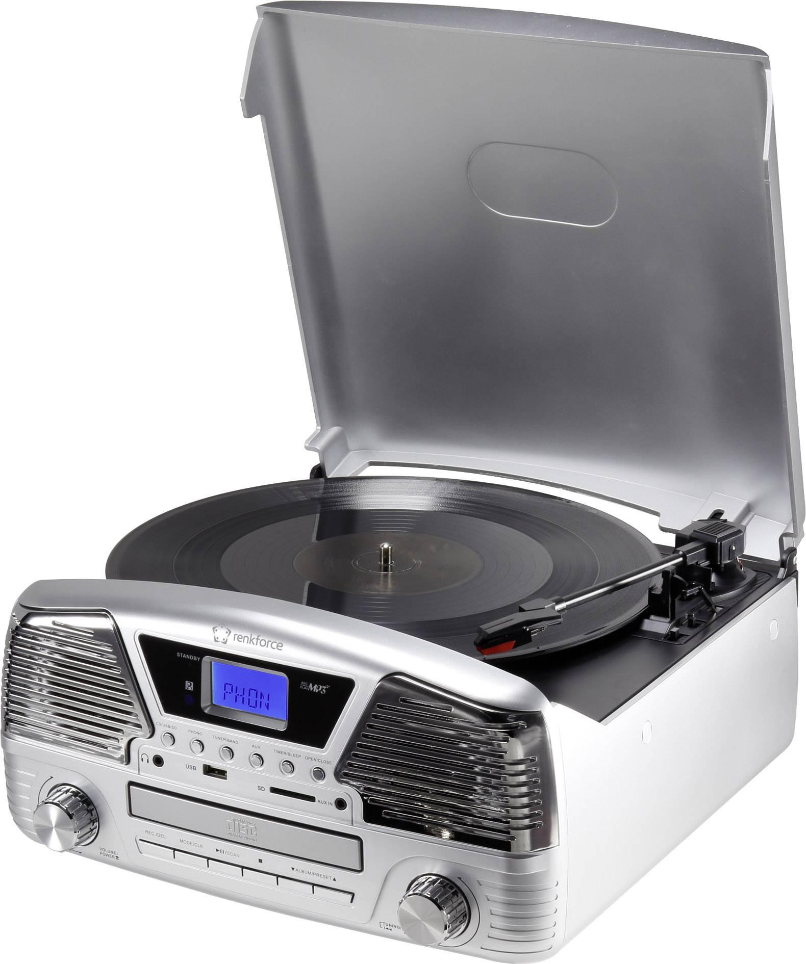 Retro gramofón RENKFORCE MT-35, strieborná