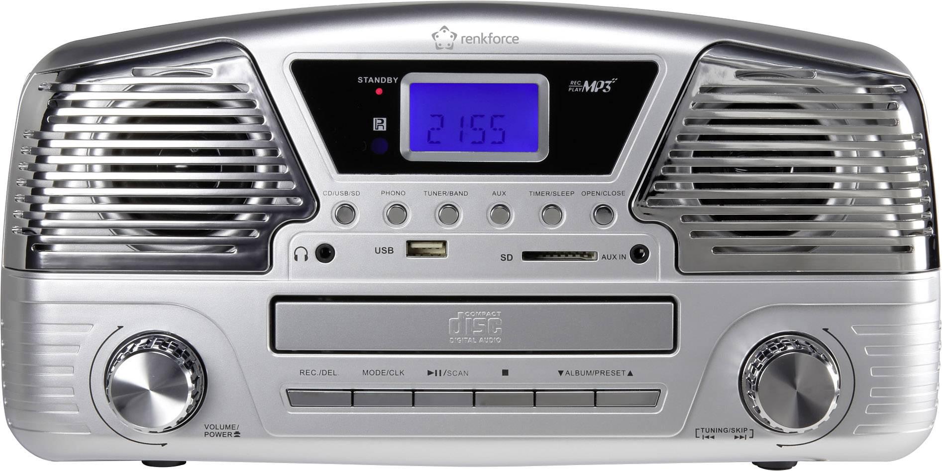 Retro USB gramofon Renkforce MT-35, stříbrná