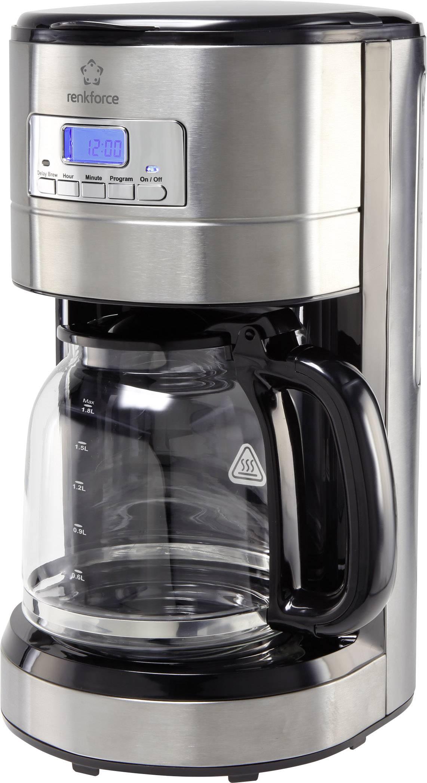 Kávovar Renkforce CM4276-V funkcia časovača, displej nerezová oceľ kartáčovaná, čierna