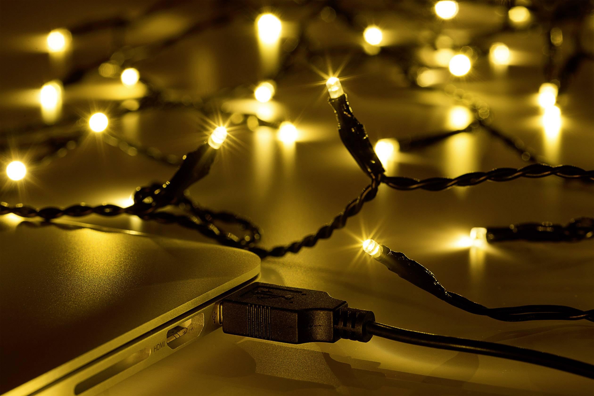 LED mikro světelný řetěz Polarlite LLC-06-002;LLC-06-002, vnitřní, napájení přes USB, LED 40, teplá bílá, 4.4 m