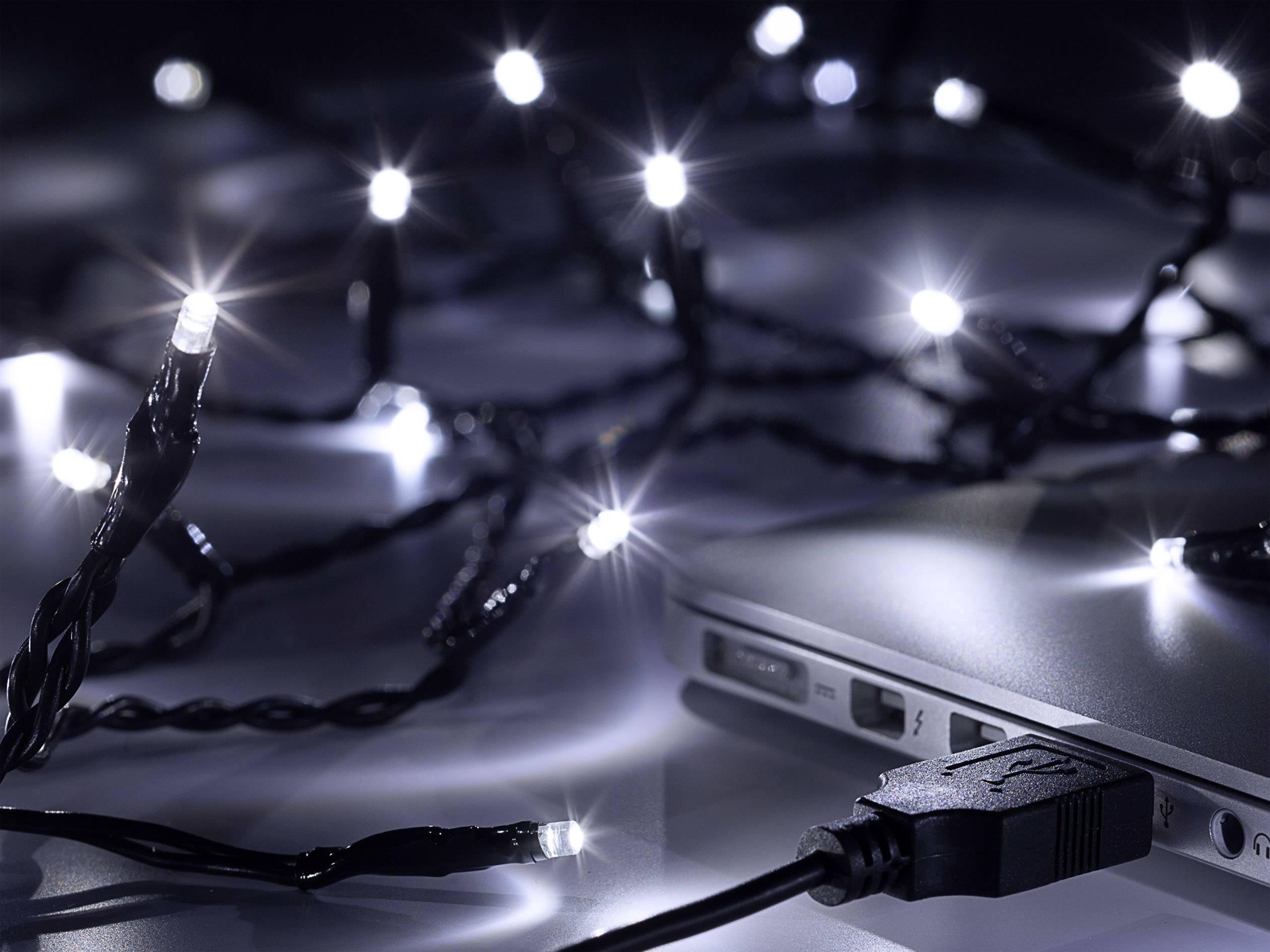 LED mikro světelný řetěz Polarlite LLC-06-004;LLC-06-004, vnitřní, napájení přes USB, LED 40, studená bílá, 4.4 m