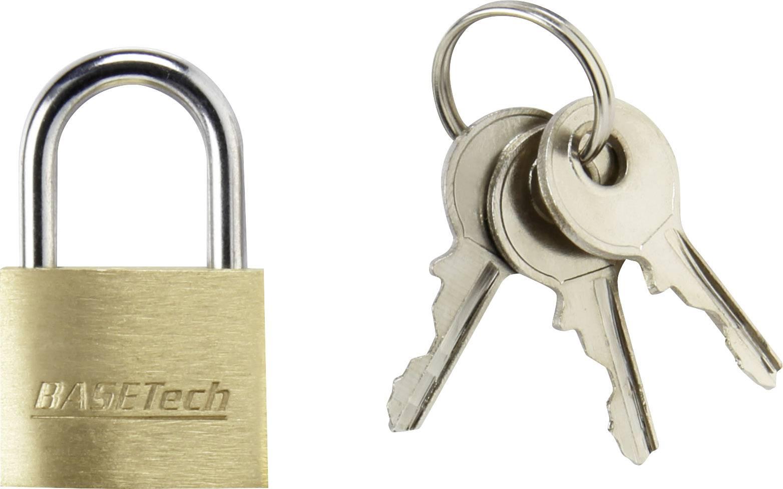 Visiaci zámok na kľúč Basetech 1362630, 19.7 mm, mosadz