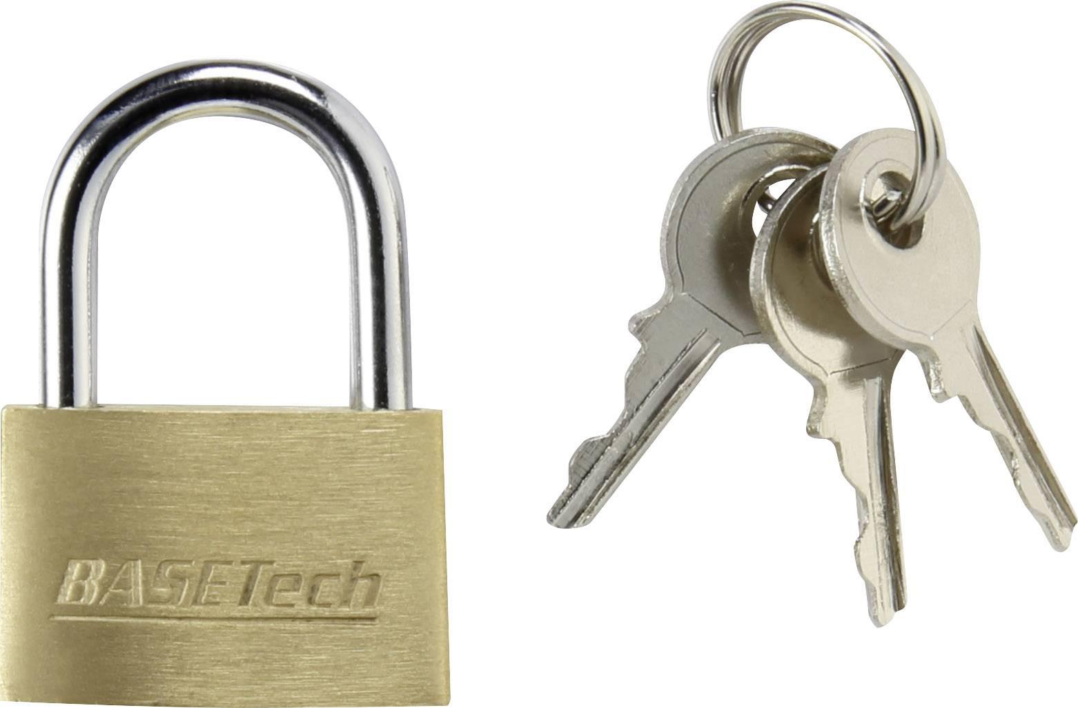 Visiaci zámok na kľúč Basetech 1362939, 24.7 mm, mosadz