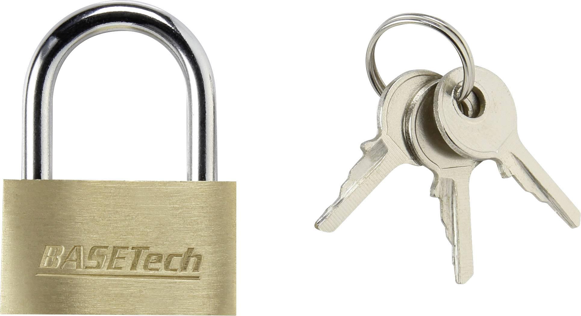 Visiaci zámok na kľúč Basetech 1363031, 29.8 mm, mosadz