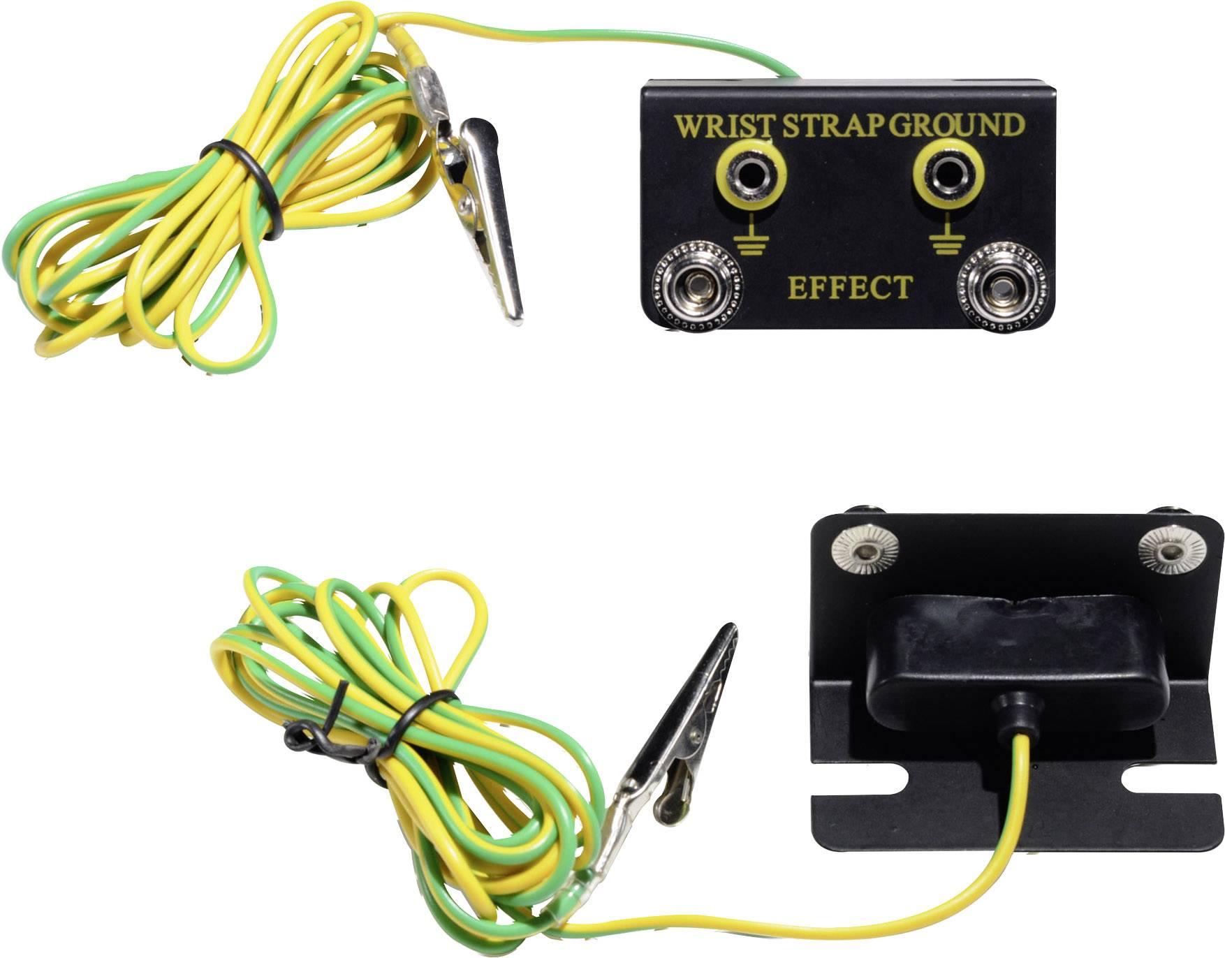 ESD zemnicí box Conrad Components EBO-SETW-10-183-S/K, vč. zemnicího kabelu 1.77 m EBO-SETW-10-183-S/K tlačítko 10 mm, krokosvorka