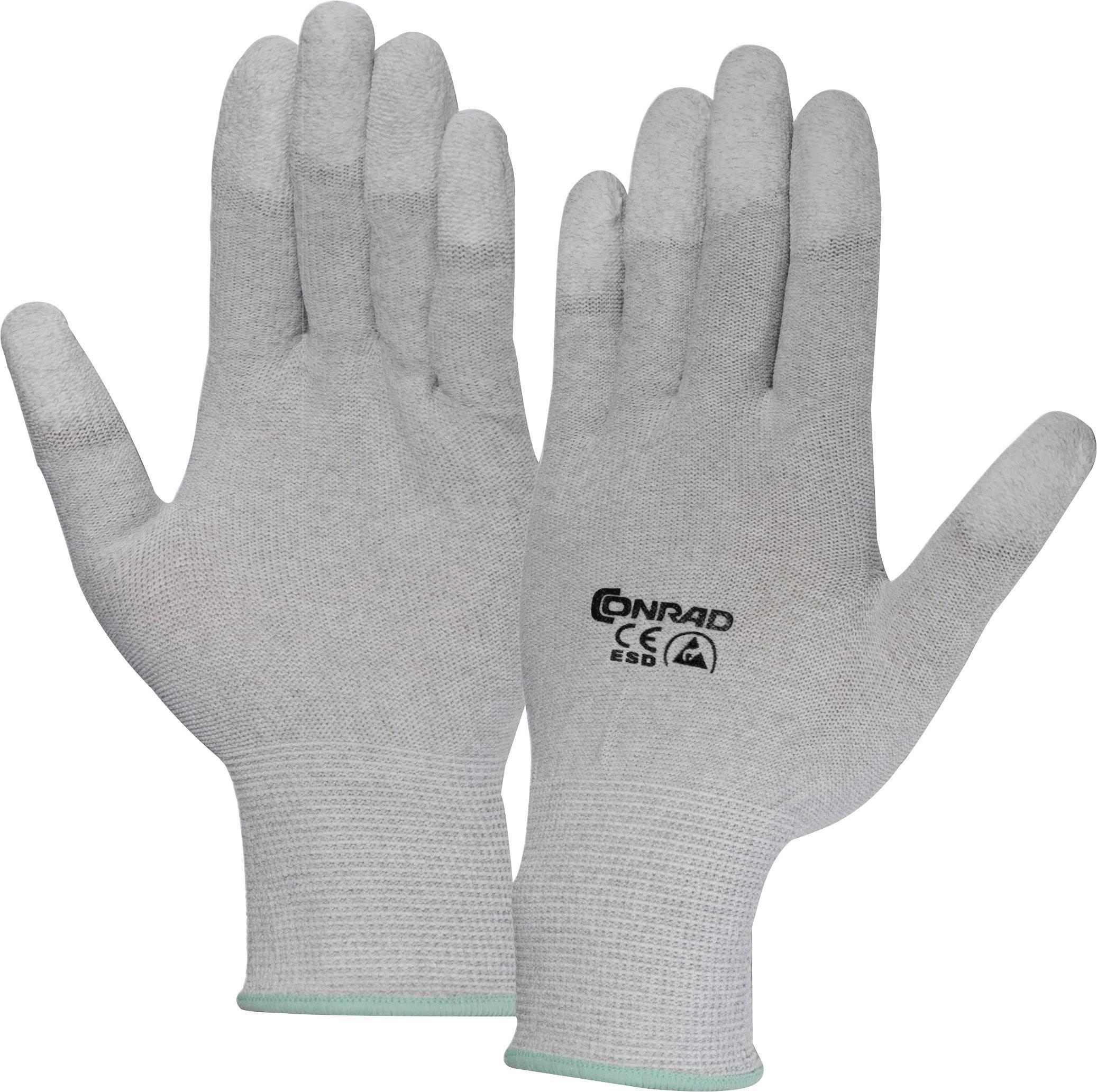 ESD rukavice Conrad Components EPAHA-RL-S, s povrchovou úpravou na špičkách prstů, vel. S, polyamid