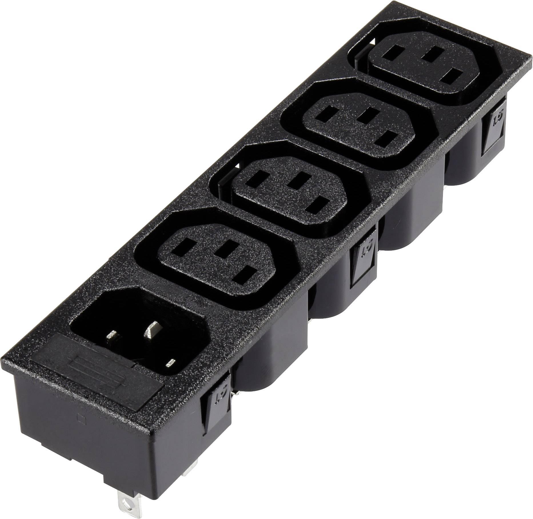 IEC zástrčka C13/C14 C13, zásuvka, vestavná vertikální, zástrčka, vestavná rovná, počet kontaktů: 2 + PE, 10 A, 250 V, černá, 1 ks