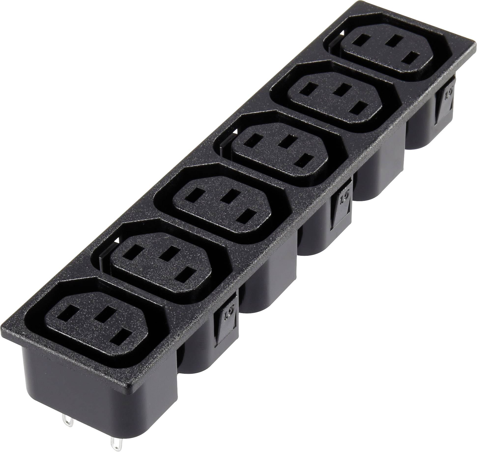 IEC zástrčka C13/C14 C13, zásuvka, vestavná vertikální, počet kontaktů: 2 + PE, 10 A, 250 V, černá, 1 ks