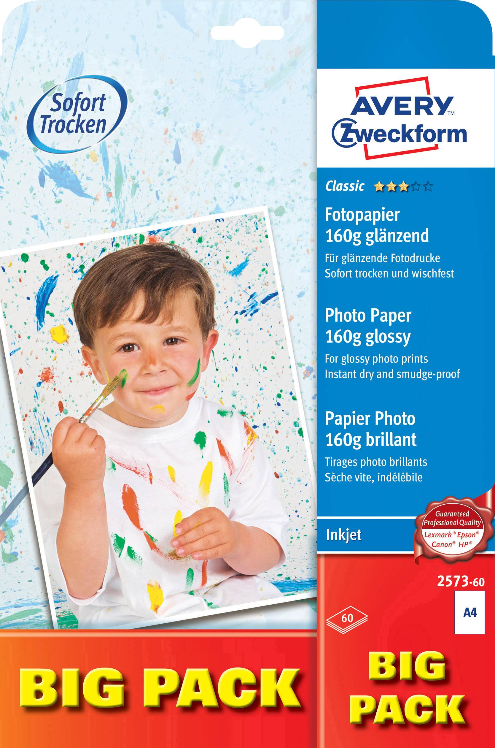 Fotopapír Avery-Zweckform Classic Inkjet 2573-60, DIN A4, 160 g/m², 60 listů