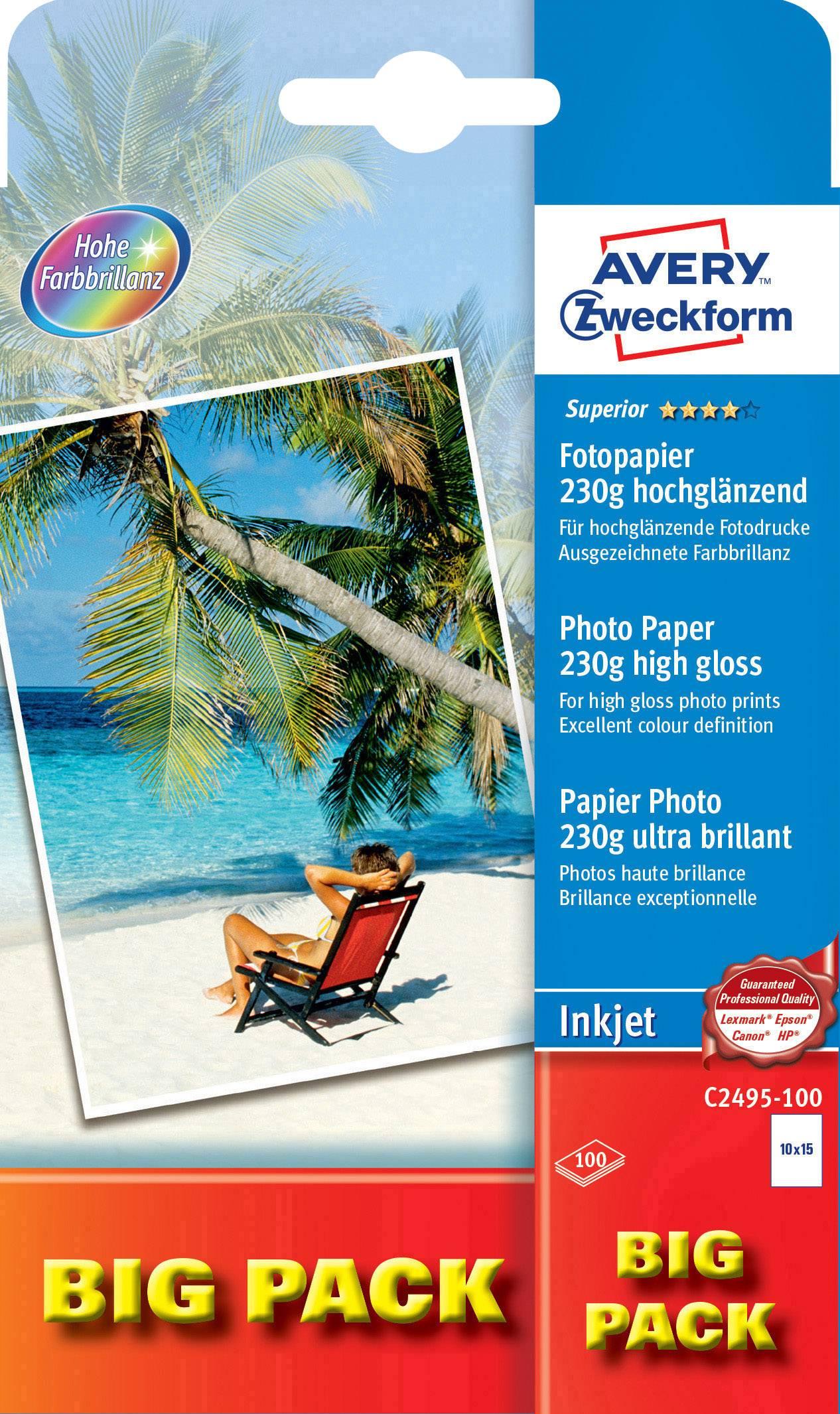Fotografický papier Avery-Zweckform Superior Photo Paper Inkjet C2495-100, 10 x 15 cm, 230 gm², 100 listov