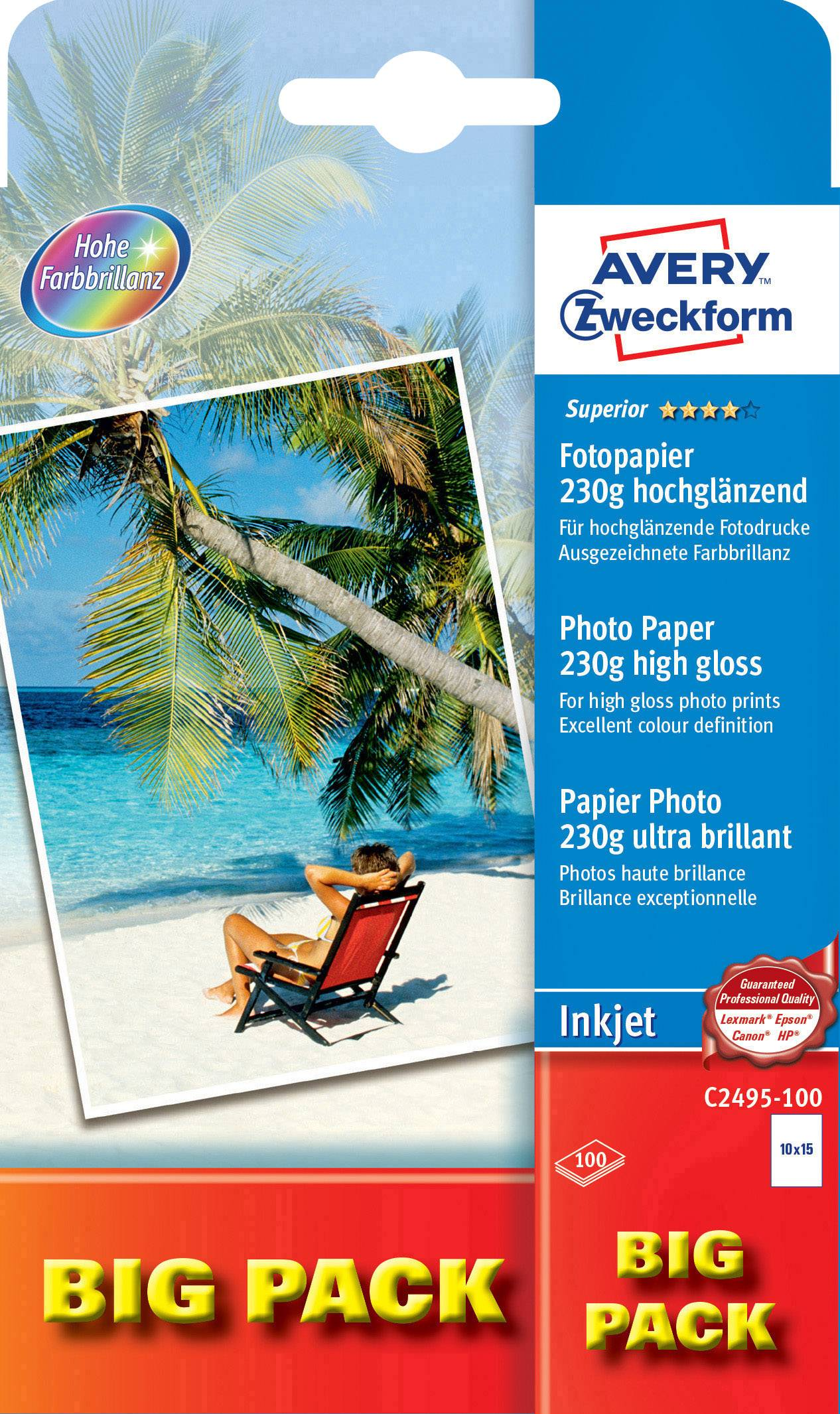 Fotopapír Avery-Zweckform Superior Inkjet C2495-100, 10 x 15, 230 g/m², 100 listů
