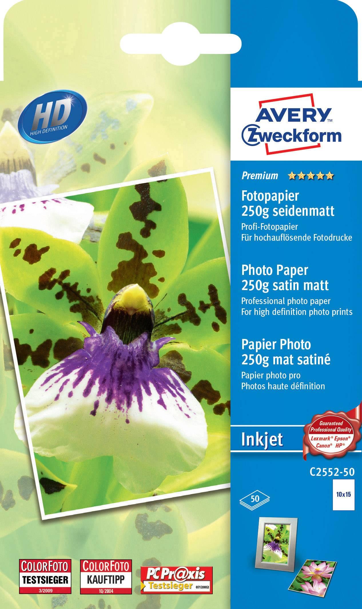 Fotografický papier Avery-Zweckform Premium Photo Paper Inkjet C2552-50, 10 x 15 cm, 250 gm², 50 listov