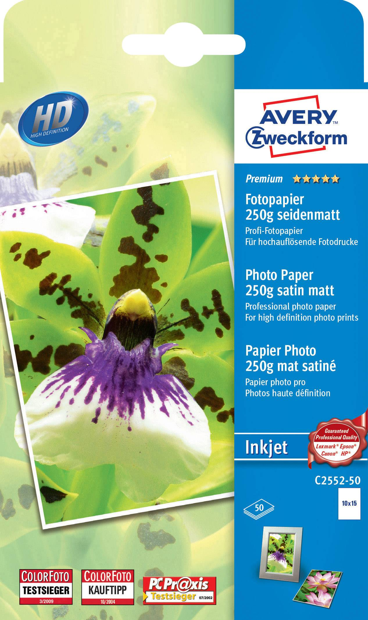 Fotopapír Avery-Zweckform Premium Inkjet C2552-50, 10 x 15, 250 g/m², 50 listů