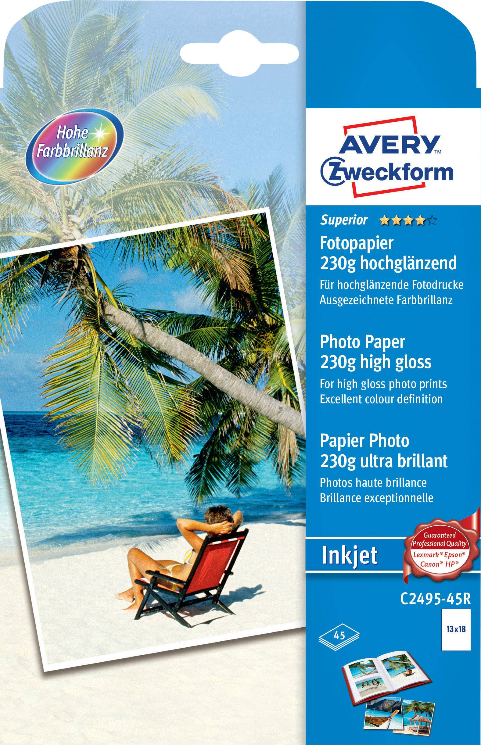 Fotopapír Avery-Zweckform Superior Inkjet C2495-45R, 13 x 18, 230 g/m², 45 listů