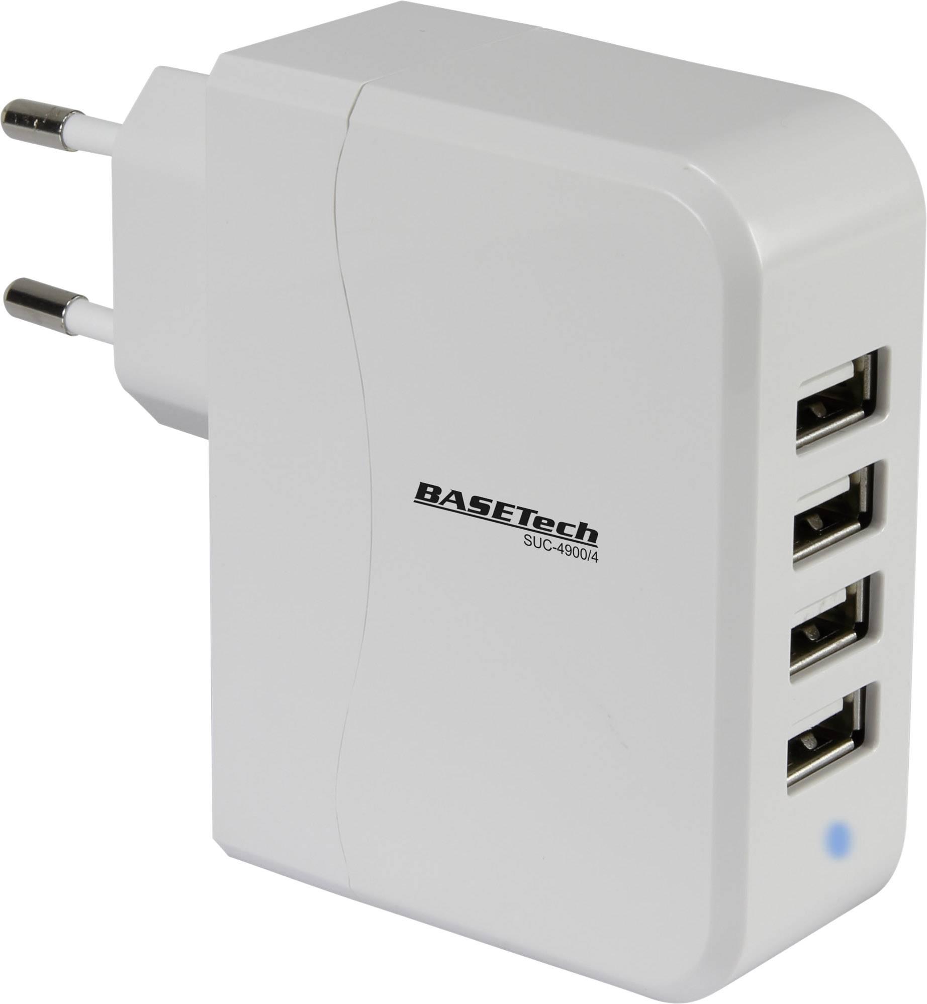 USB nabíječka Basetech SUC-4900/4 do zásuvky (230 V), 4900 mA, 4 x USB, šedá