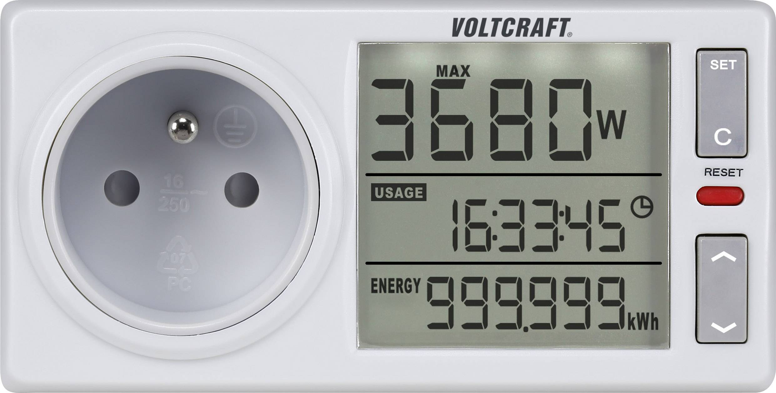 Zásuvkový merač spotreby el.energie VOLTCRAFT 4500ADVANCED FR