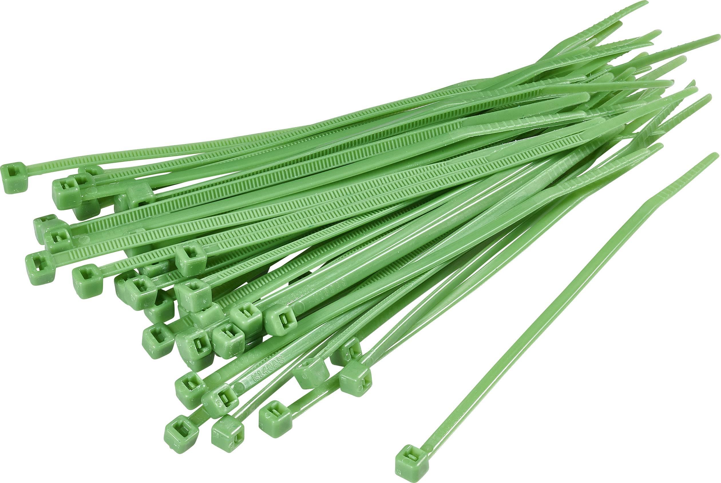 Sťahovacie pásky KSS CV150 1369087, 150 mm, zelená, 100 ks