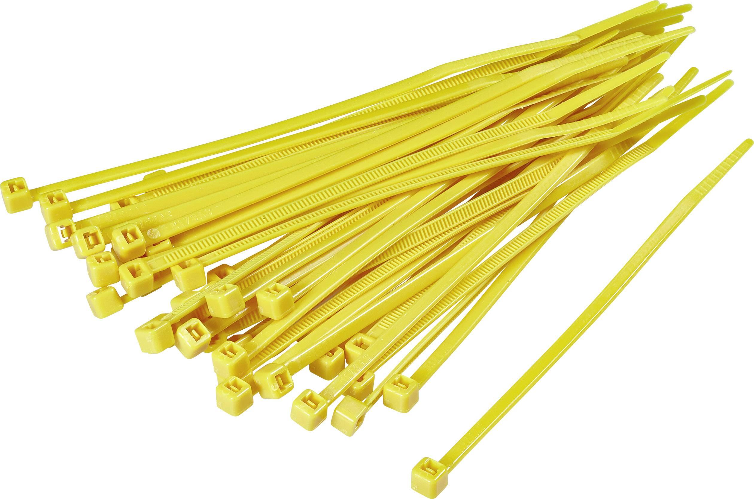 Sťahovacie pásky KSS CV200D 1369096, 203 mm, žltá, 100 ks