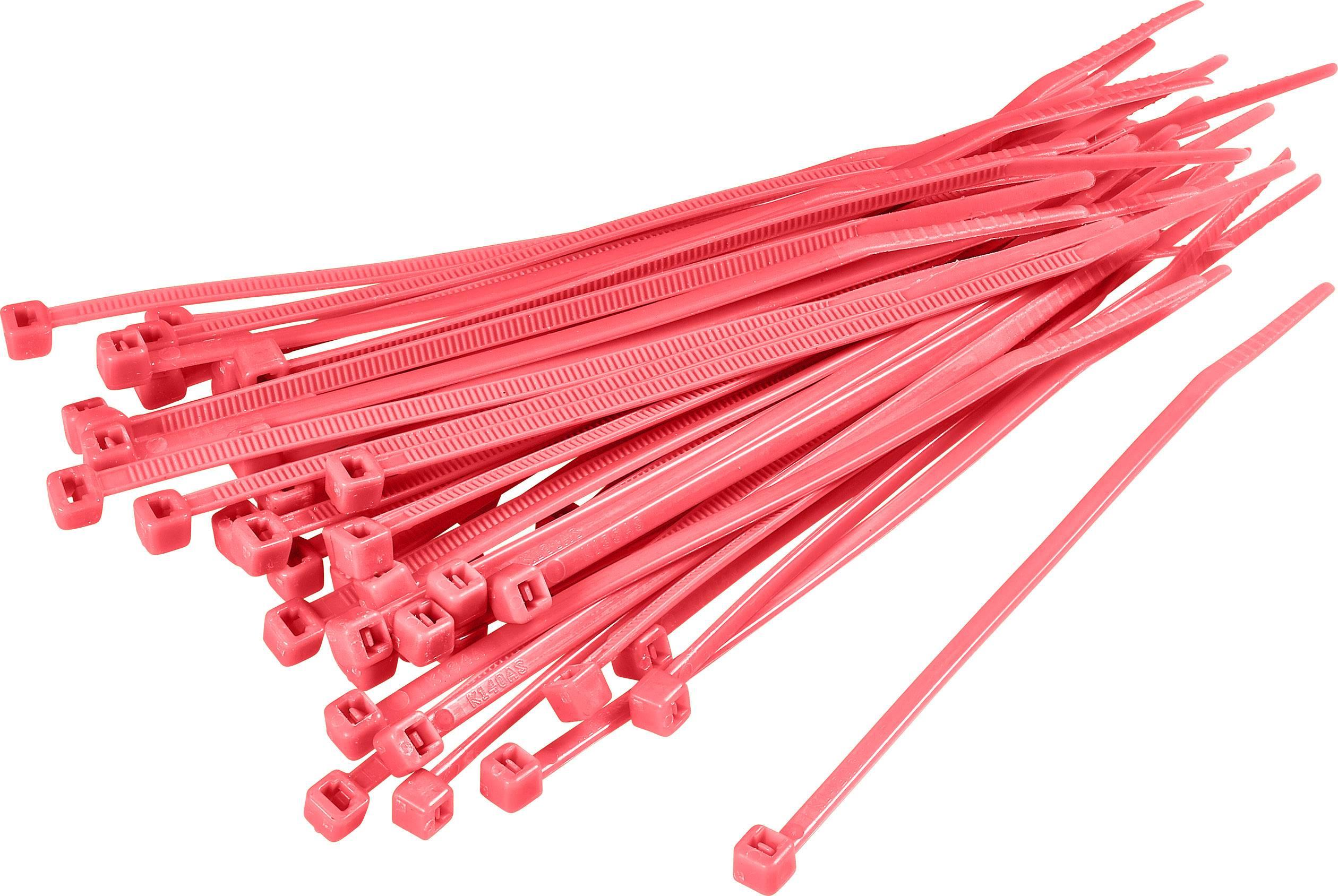 Sťahovacie pásky KSS CV100 1369077, 100 mm, červená, 100 ks