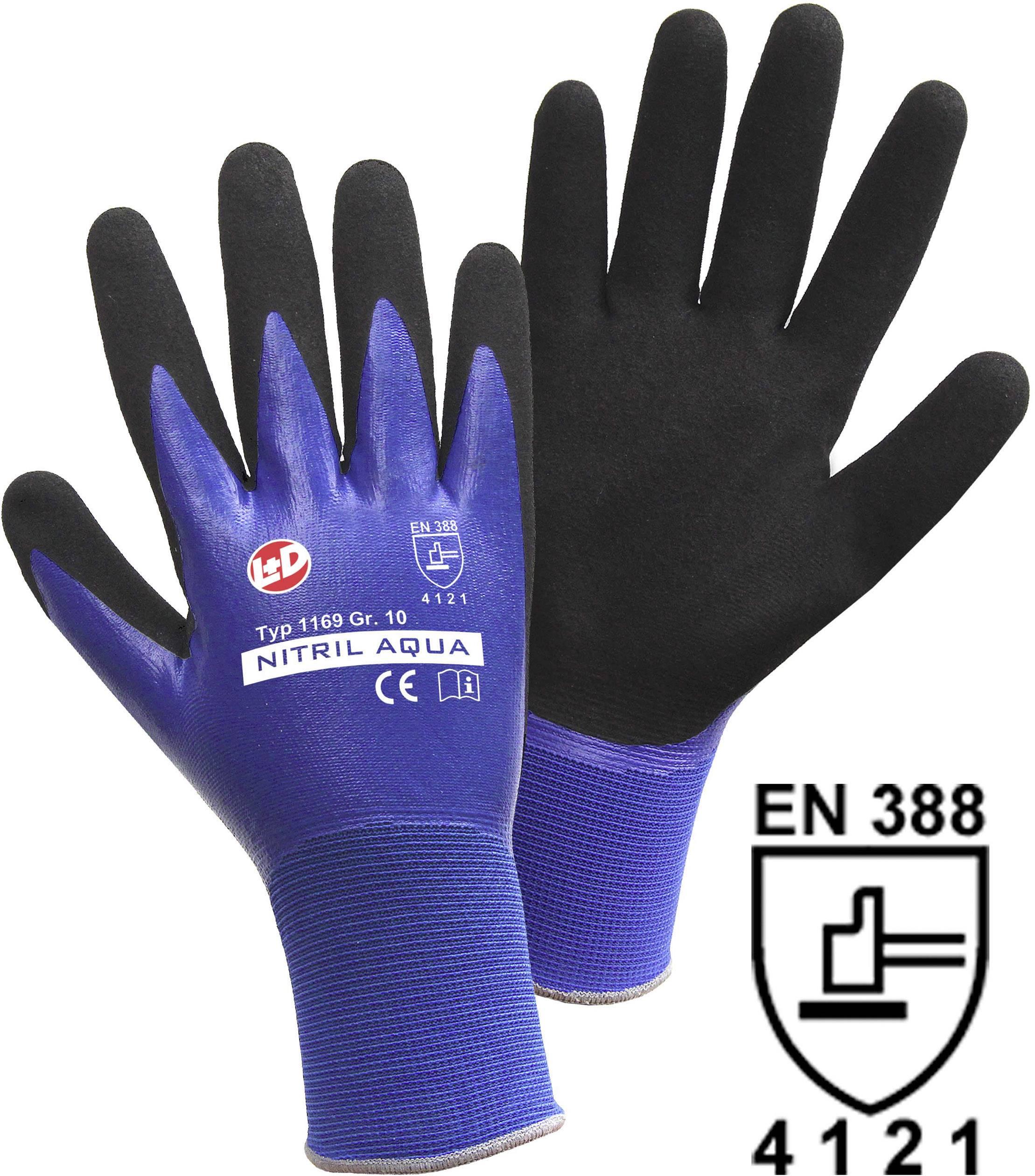 Pracovní rukavice L+D Nitril Aqua 1169, velikost rukavic: 9, L