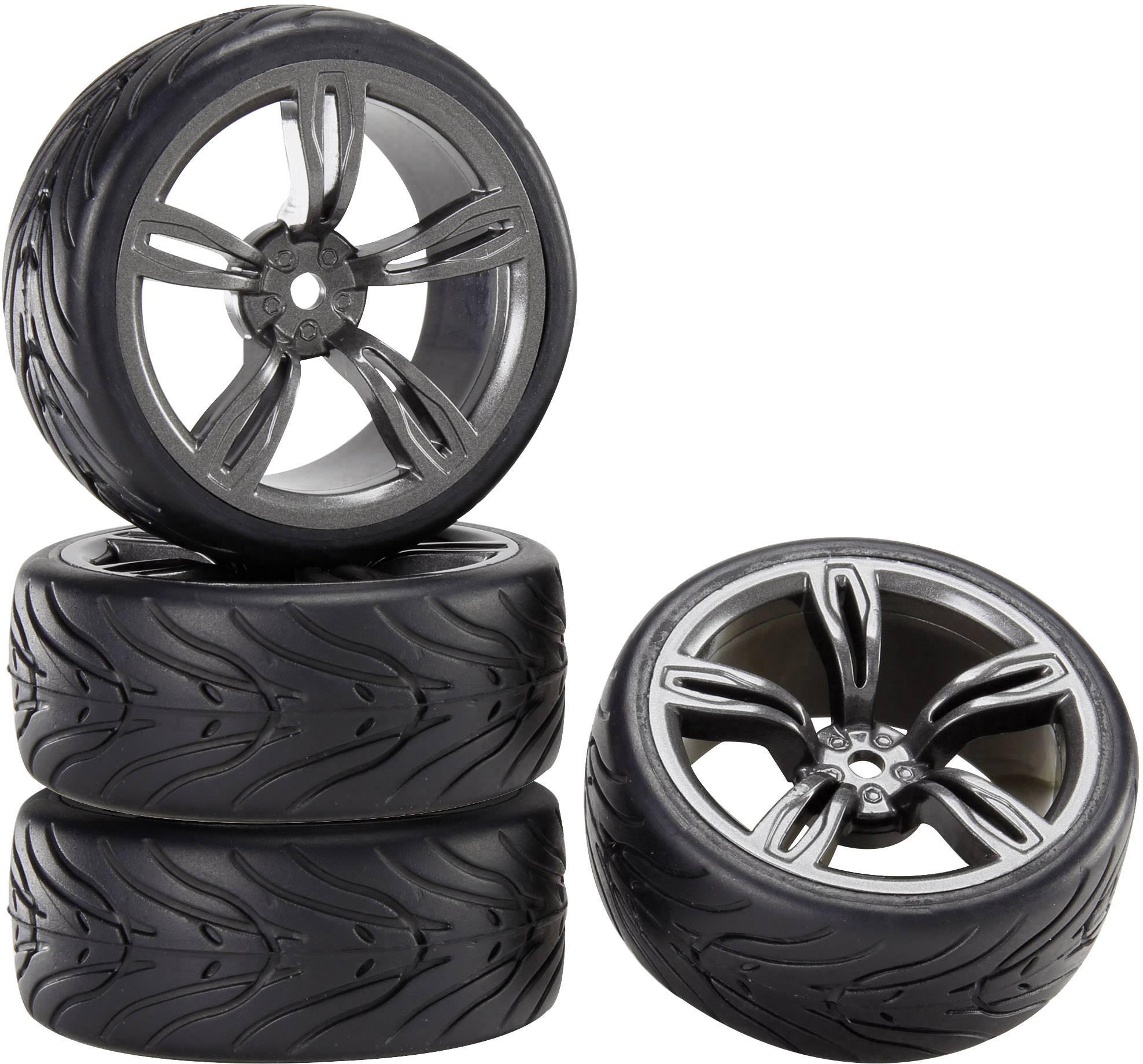 Kompletné kolesá pre cestné modely s ráfikmi a profilom pneumatík (5 mm + Devil) Reely