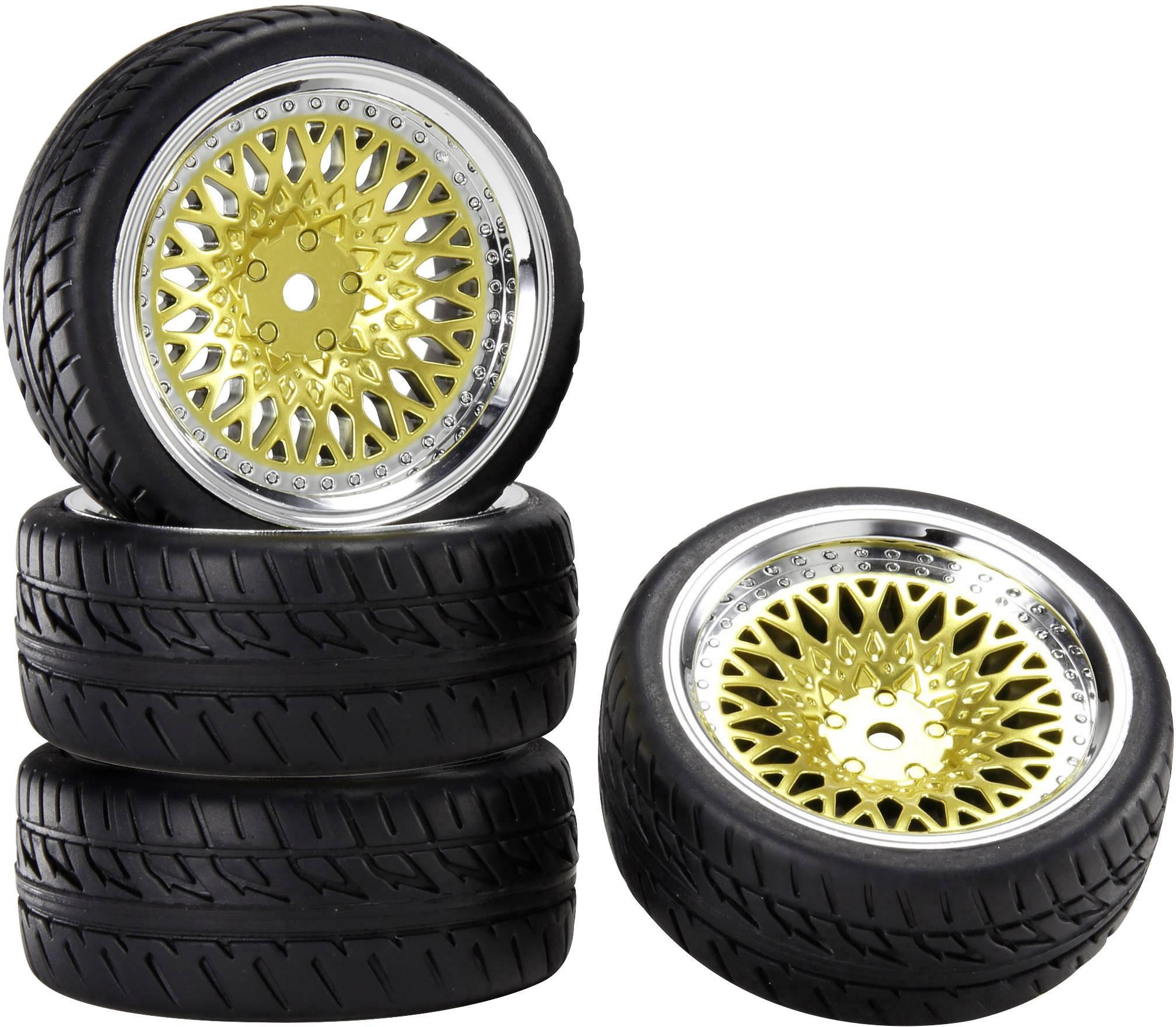 Kompletné kolesá Reely 1:10 cestný model zlatá 4 ks