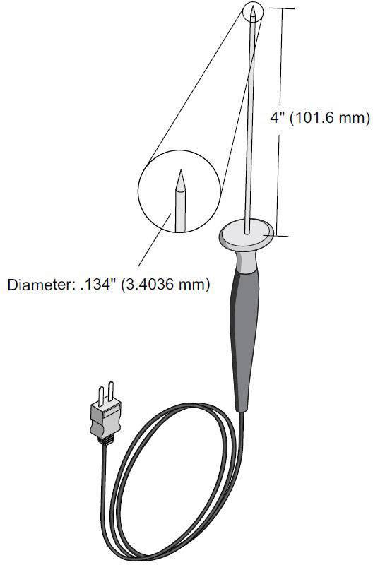 Vpichovací teplotní sonda Fluke 80PT-25, -196 až +350 °C, typ senzoru T , Kalibrováno dlebez certifikátu