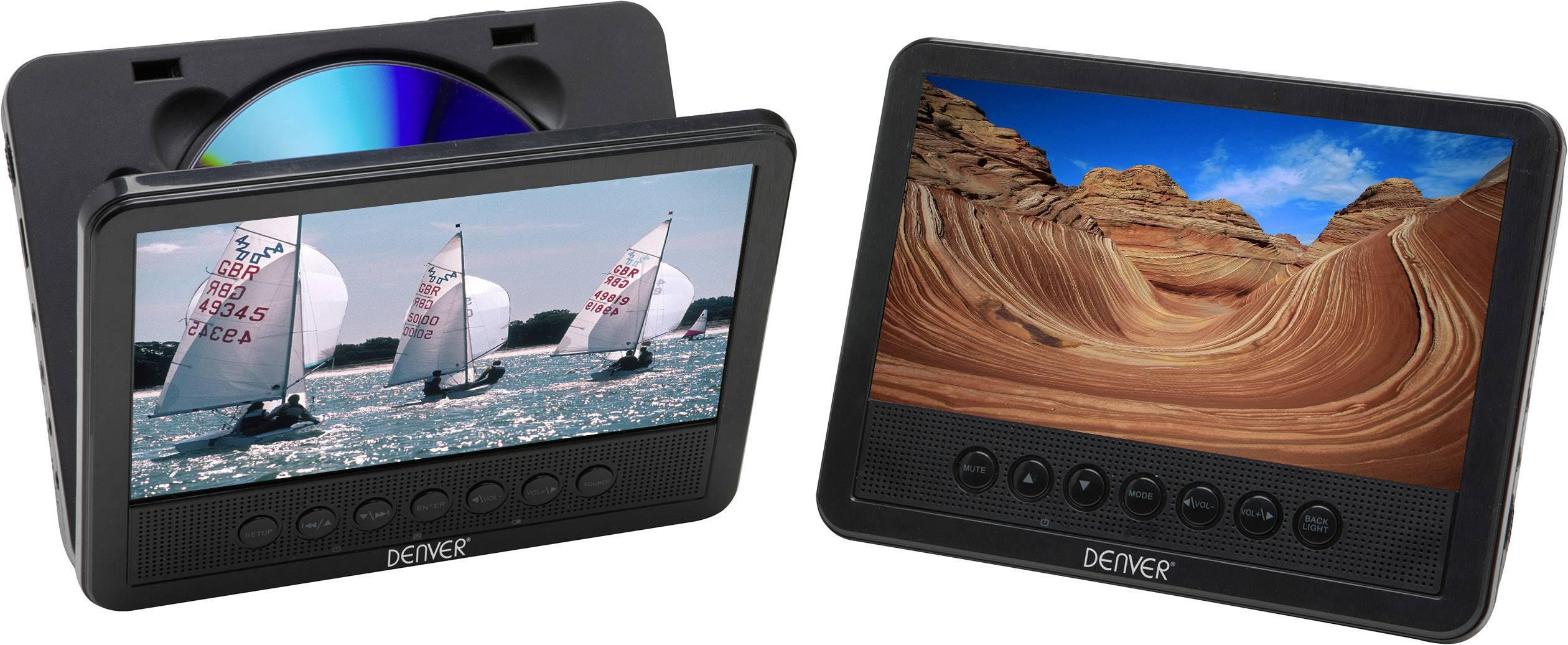 """DVD přehrávač do opěrek hlavy, 2x LCD Denver MWT-756 TWIN NB, 17.8 cm (7 """")"""