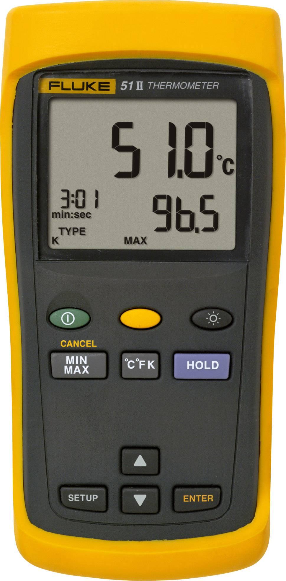 Teploměr Fluke 51 II 1281142, -250 až +1372 °C, typ senzoru J , K, T , E , Kalibrováno dle: vlastní