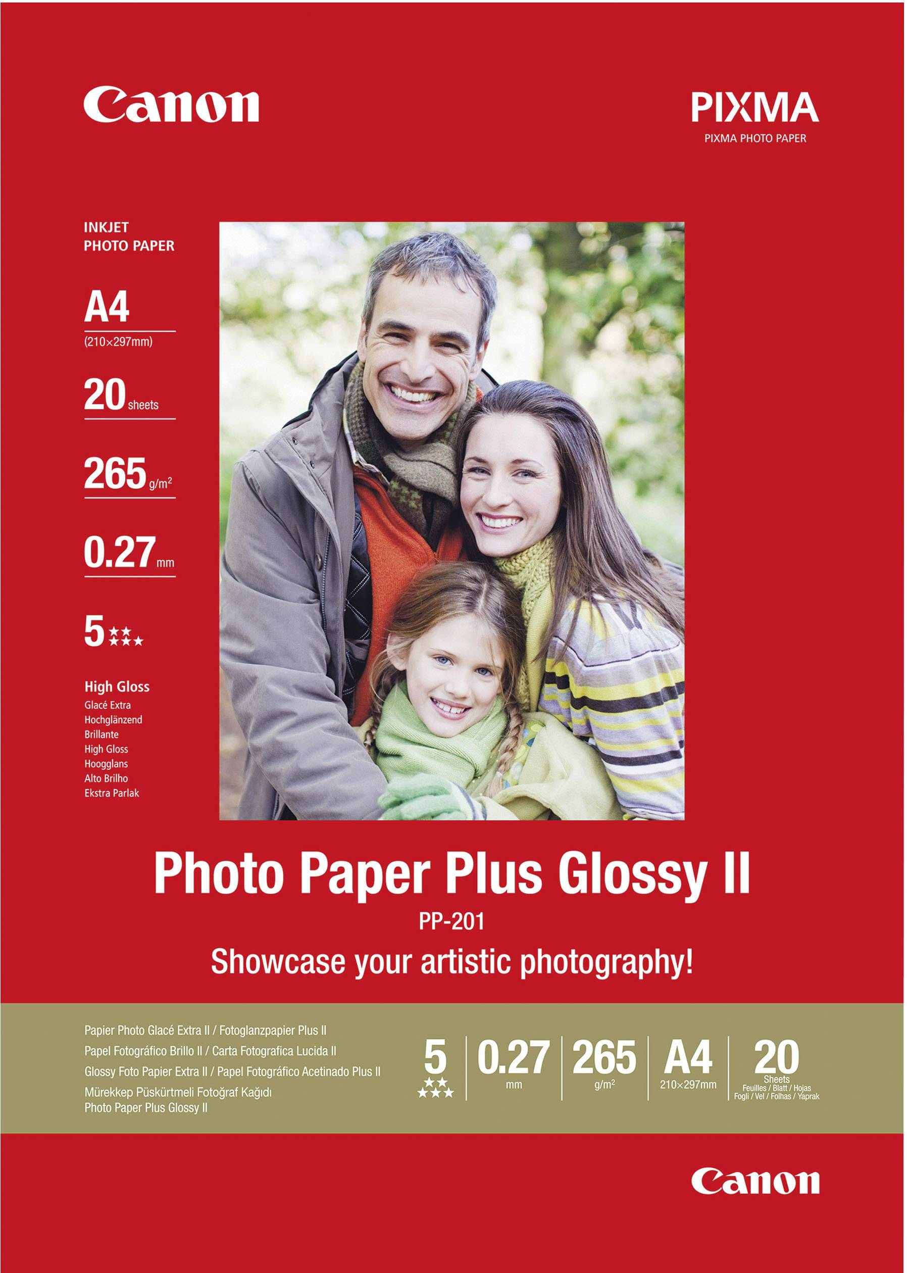 Fotografický papír Canon Photo Paper Plus Glossy II PP-201 2311B019, A4, 265 gm², 20 listů