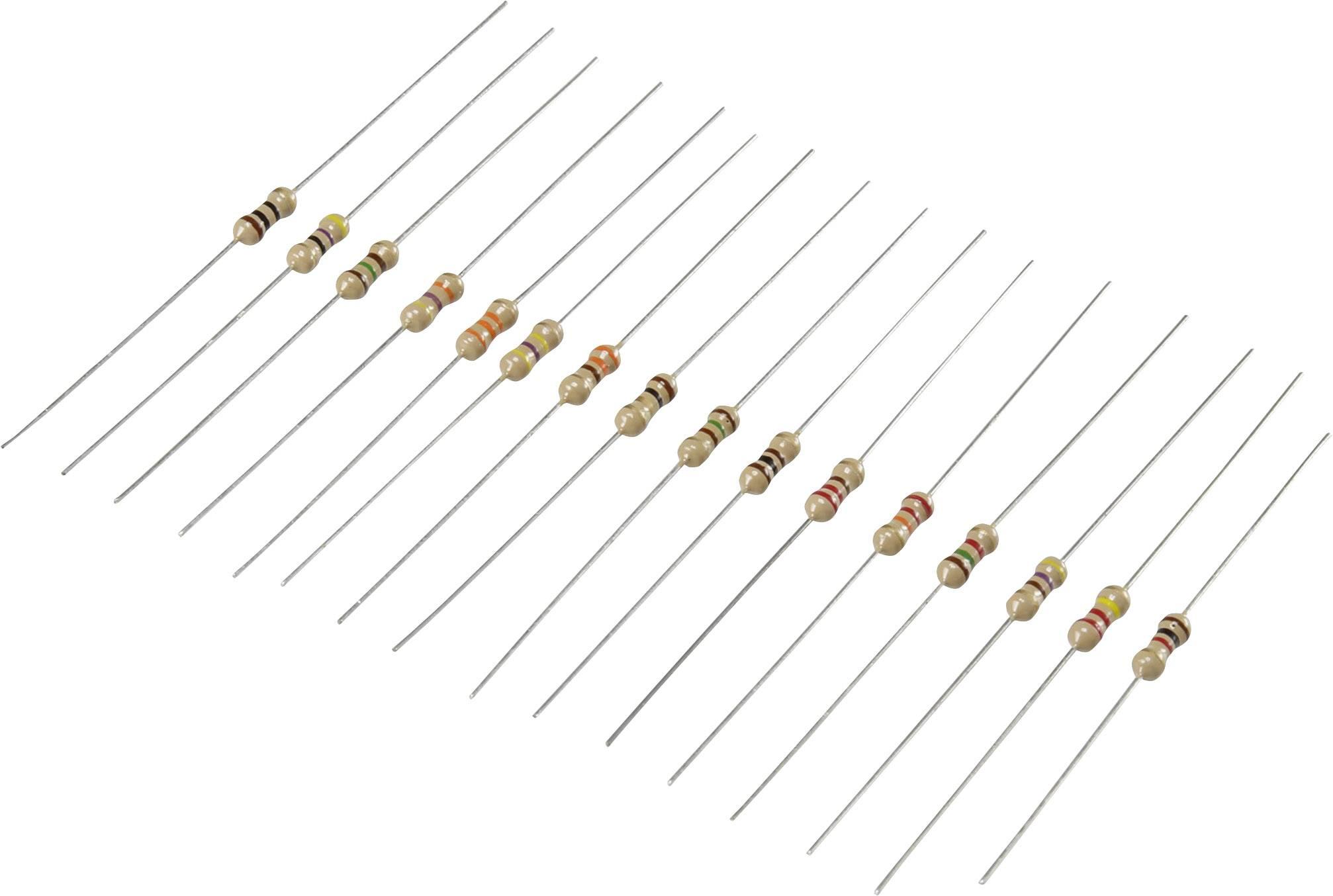 Sada uhlíkových rezistorů Conrad Components 98001c367, axiální, 0.25 W, 480 ks