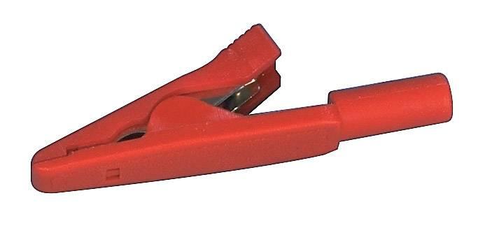 Měřicí krokosvorka Hirschmann MA 1, poniklovaná mosaz, 2 mm , červená