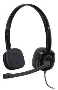 Headset k PC jack 3,5 mm na kabel, stereo Logitech H151 na uši černá