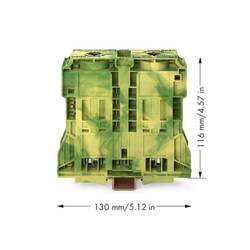 Priechodná svorka WAGO 285-1187, osadenie: Terre, pružinová svorka, zelenožltá, 100 ks