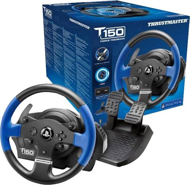 Volant Thrustmaster T150 RS Force Feedback USB 2.0 PlayStation 3, PlayStation 4, PC černá/modrá vč. pedálů