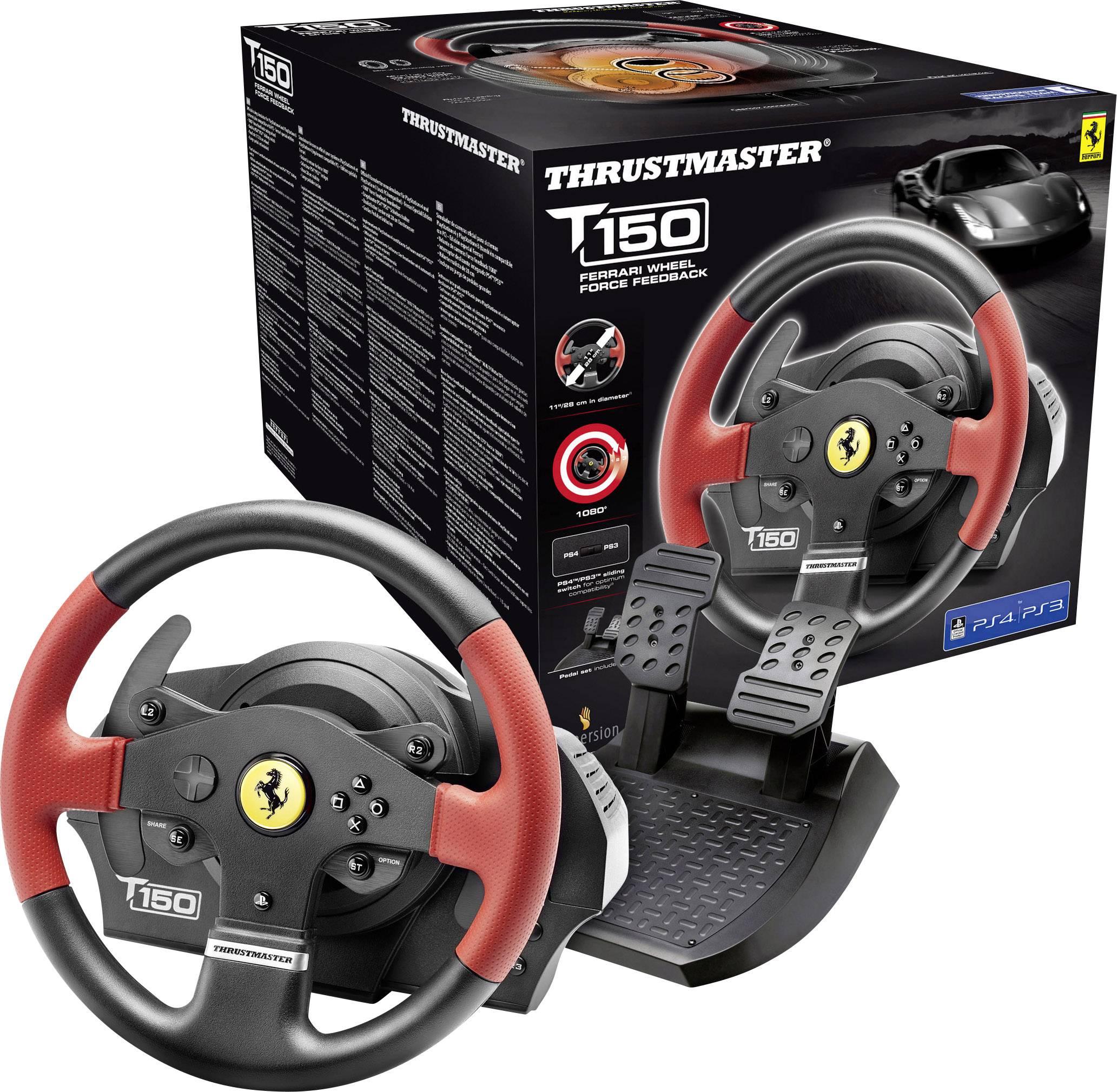 Volant Thrustmaster T150 Ferrari Wheel Force Feedback USB 2.0 PC, PlayStation 3, PlayStation 4 černá/červená vč. pedálů