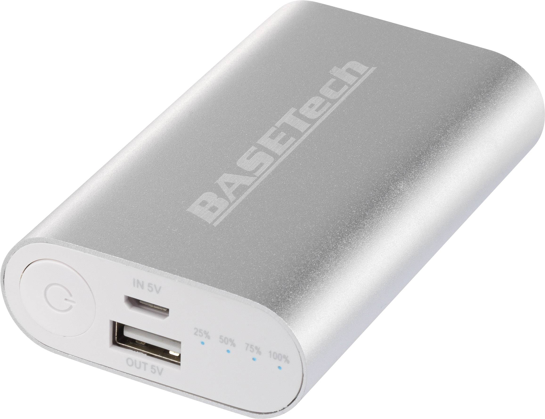 Powerbanka Basetech BTP-2, Li-Ion akumulátor 5200 mAh, strieborná/biela