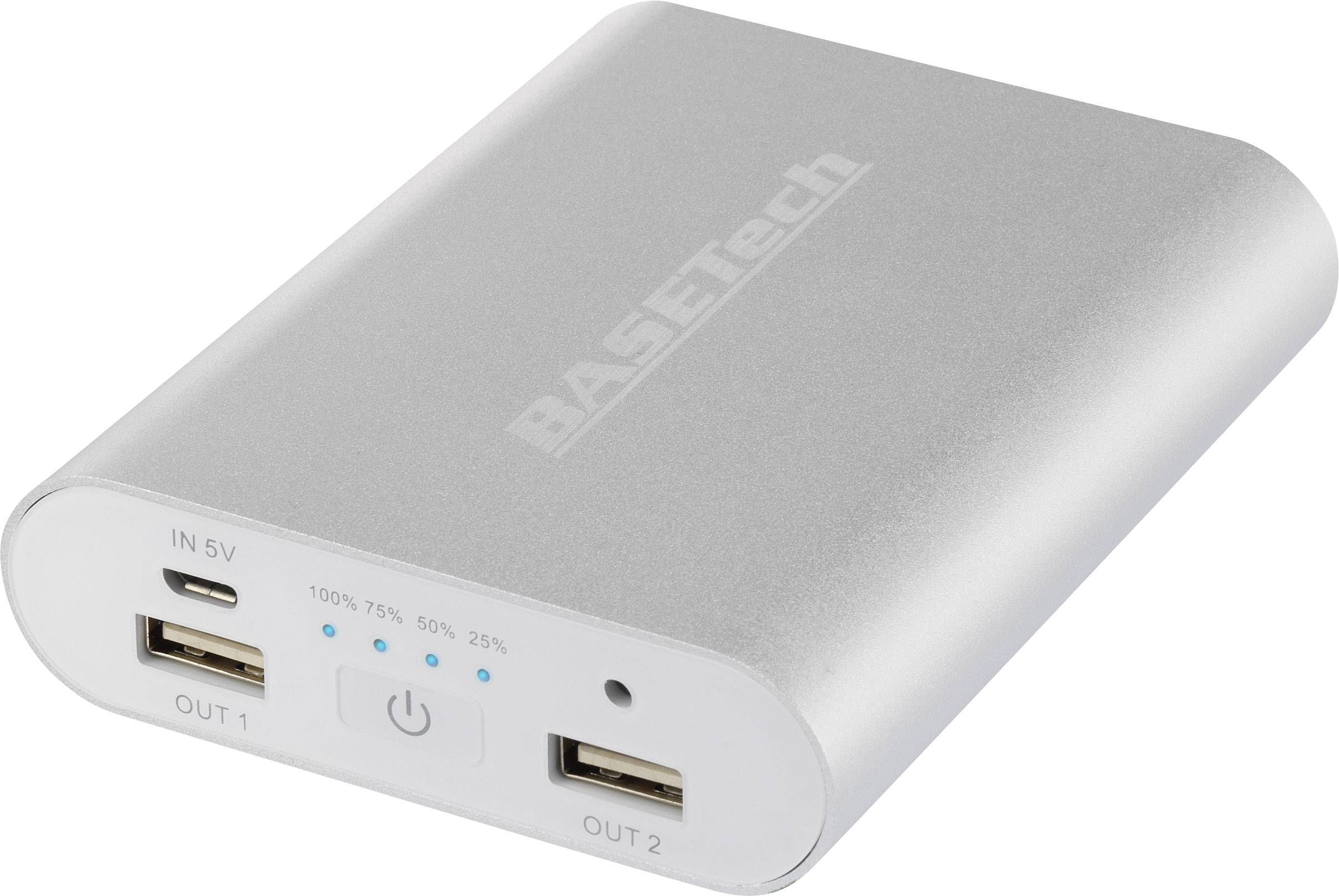 Powerbanka Basetech BTP-3, Li-Ion akumulátor 10400 mAh, strieborná/biela