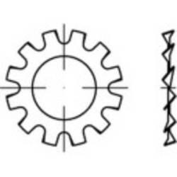 Podložky ozubené TOOLCRAFT 1067153, N/A, vonkajší Ø: 11 mm, vnútorný Ø: 6.4 mm, 1000 ks