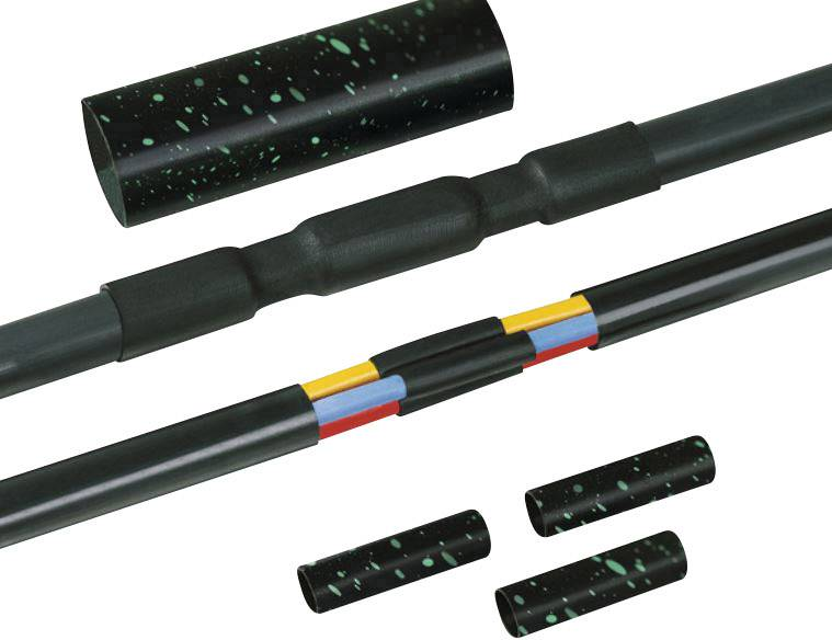 Sada smršťovacích kabelových spojek bez šroubových spojů HellermannTyton LVK-5x6-25 PO-X BK, 1 sada