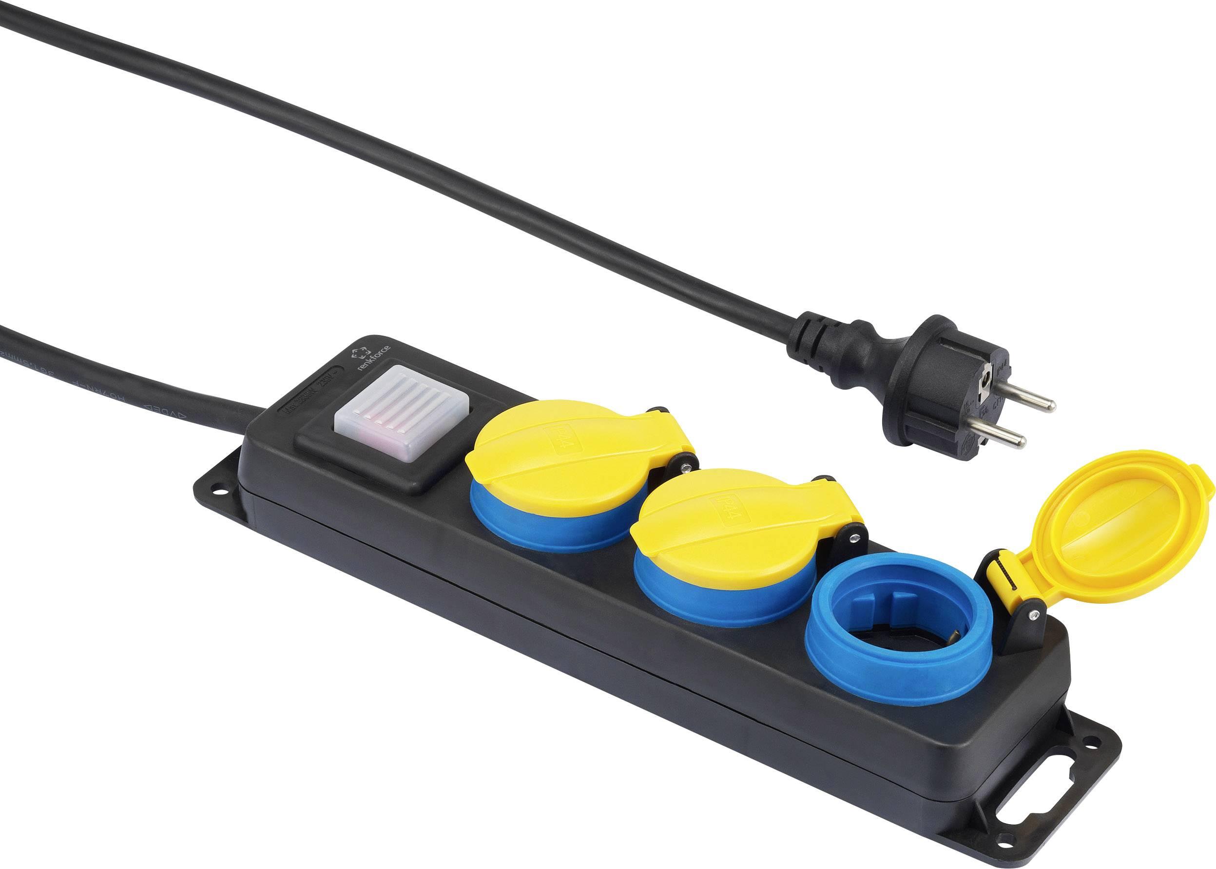 Zásuvková lišta s vypínačom, 3-násobná Renkforce 350E-CMB, DE schuko zástrčka/zásuvky, 5.00 m