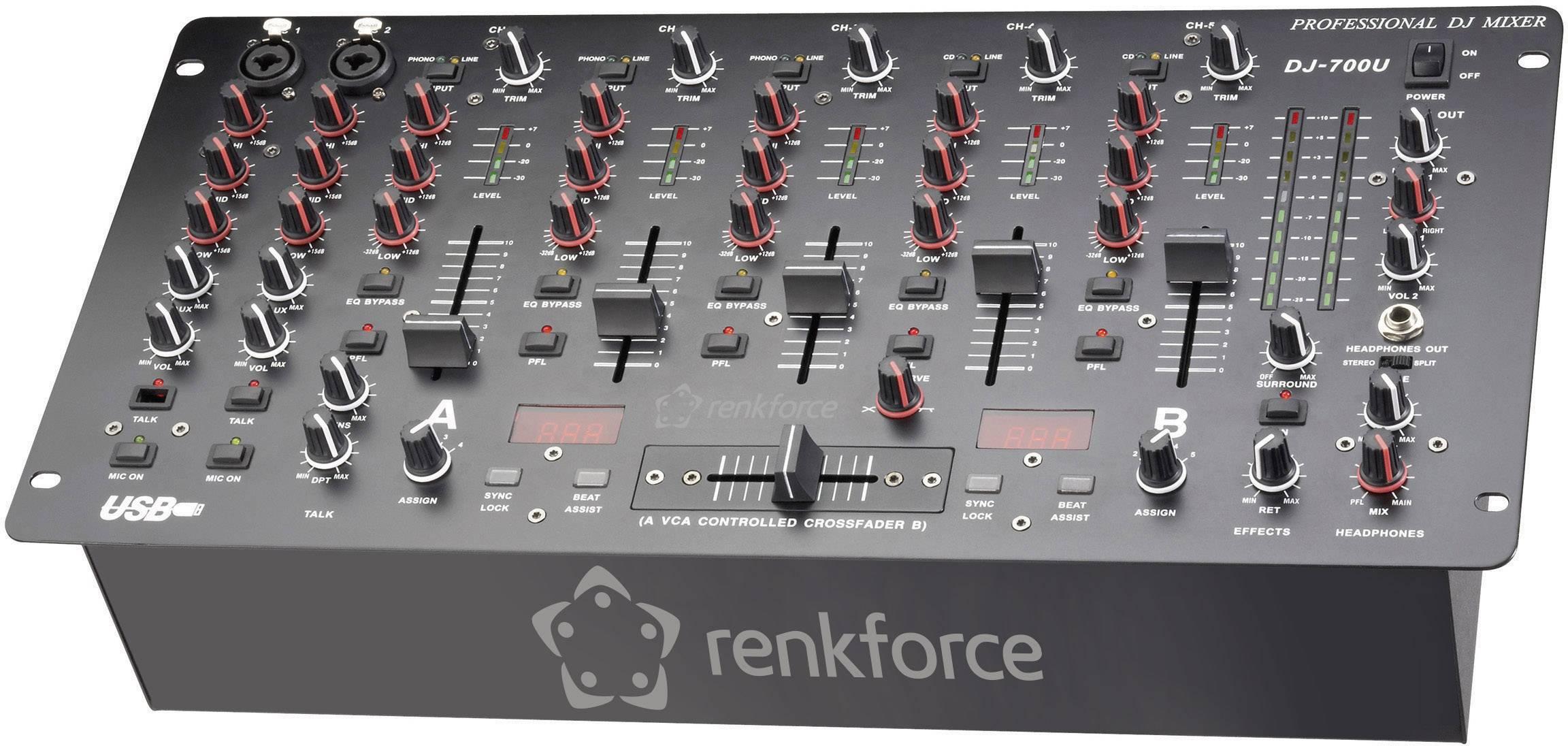 """DJ mixážní pult Renkforce DJM700U, USB, 19"""""""