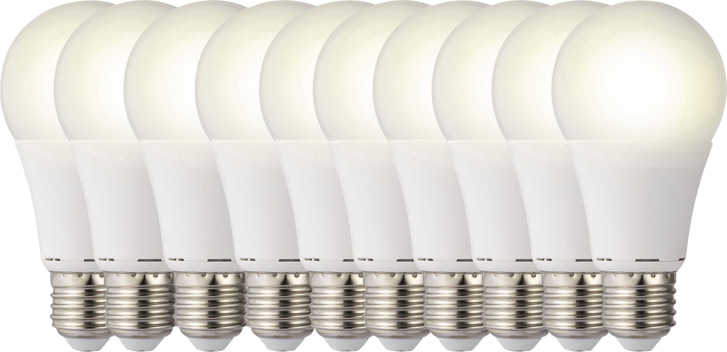 10 - dílná sada LED žárovek Sygonix 230 V E27 9.5 W = 60 W 119 mm teplá bílá A+